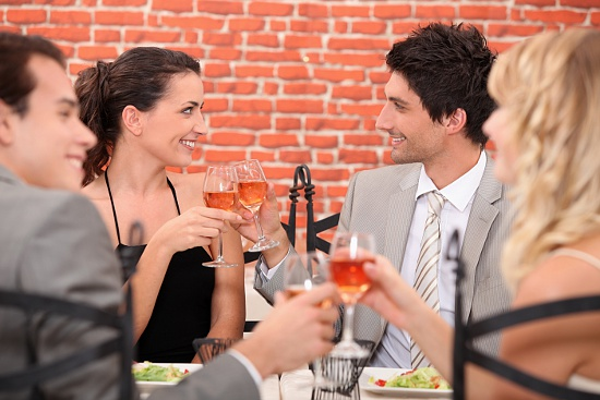 dating swinger foursome at restaurant